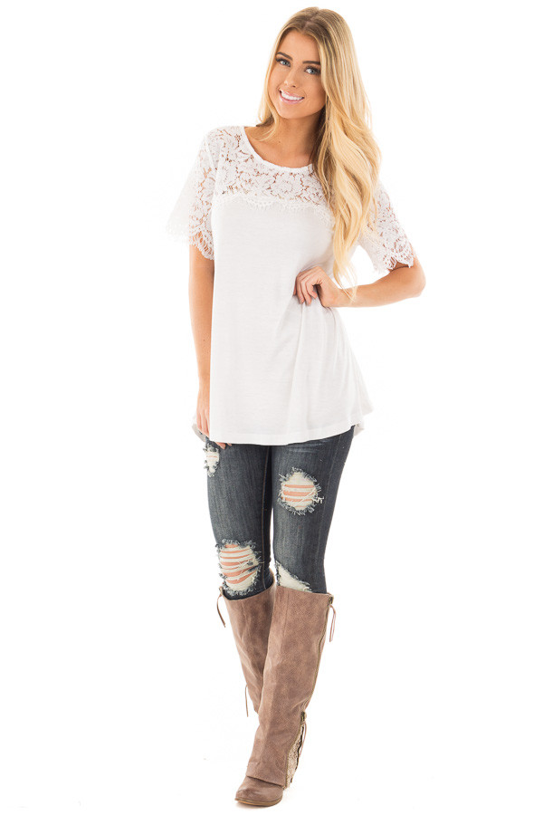 Off White Tee with Sheer Lace Details front full body
