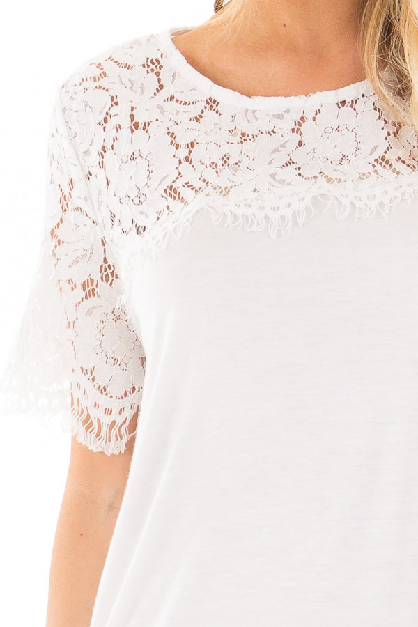 Off White Tee with Sheer Lace Details detail