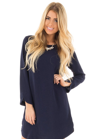Navy Long Sleeve Shift Dress front close up