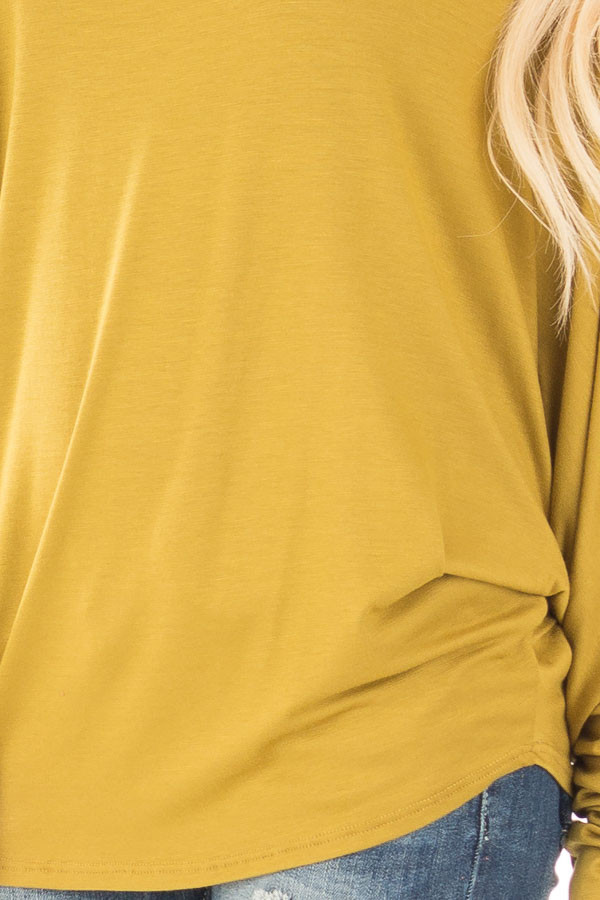 Mustard Long Sleeved Dropped Shoulder Knit Top detail