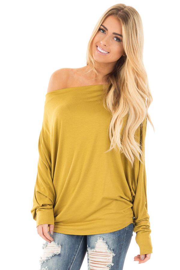 Mustard Long Sleeved Dropped Shoulder Knit Top front close up