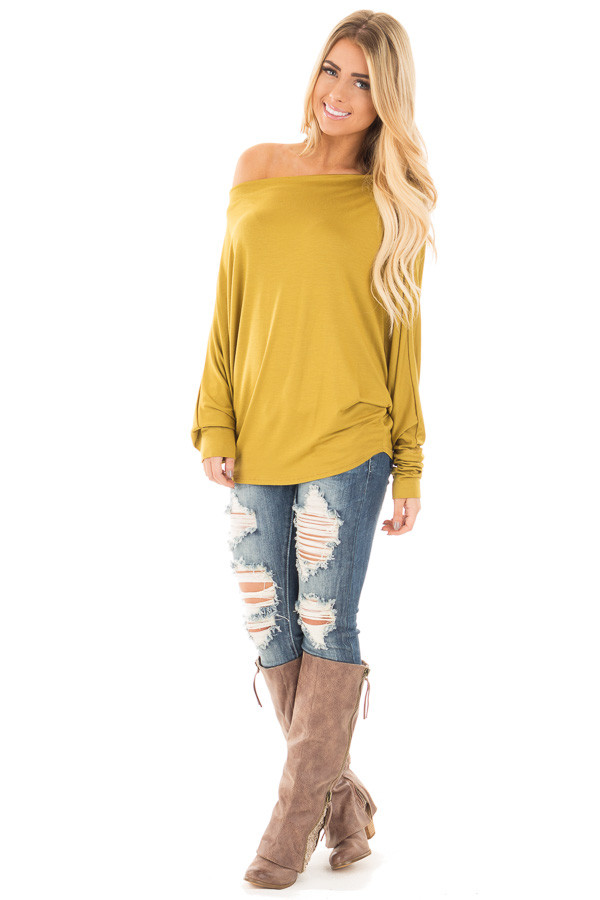 Mustard Long Sleeved Dropped Shoulder Knit Top front full body