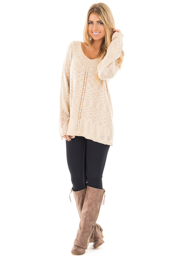 Beige Loose Knit Sweater with Knit Pattern Details front full body