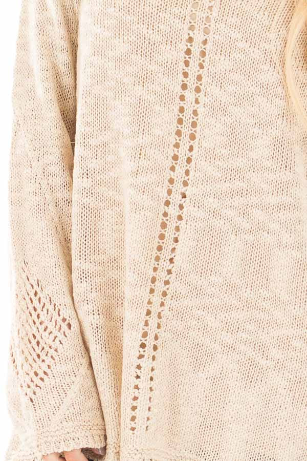 Beige Loose Knit Sweater with Knit Pattern Details detail