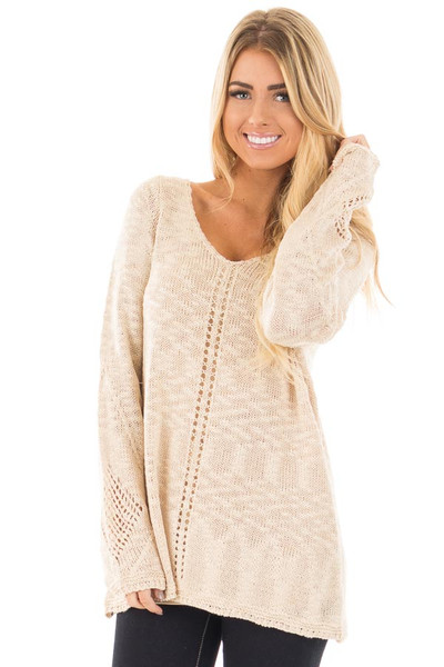 Beige Loose Knit Sweater with Knit Pattern Details front close up