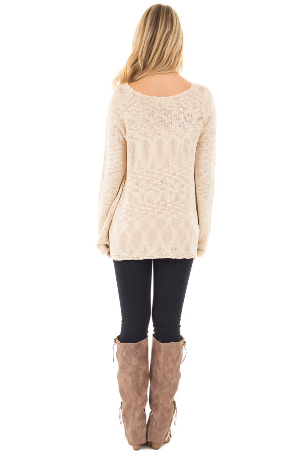 Beige Loose Knit Sweater with Knit Pattern Details back full body