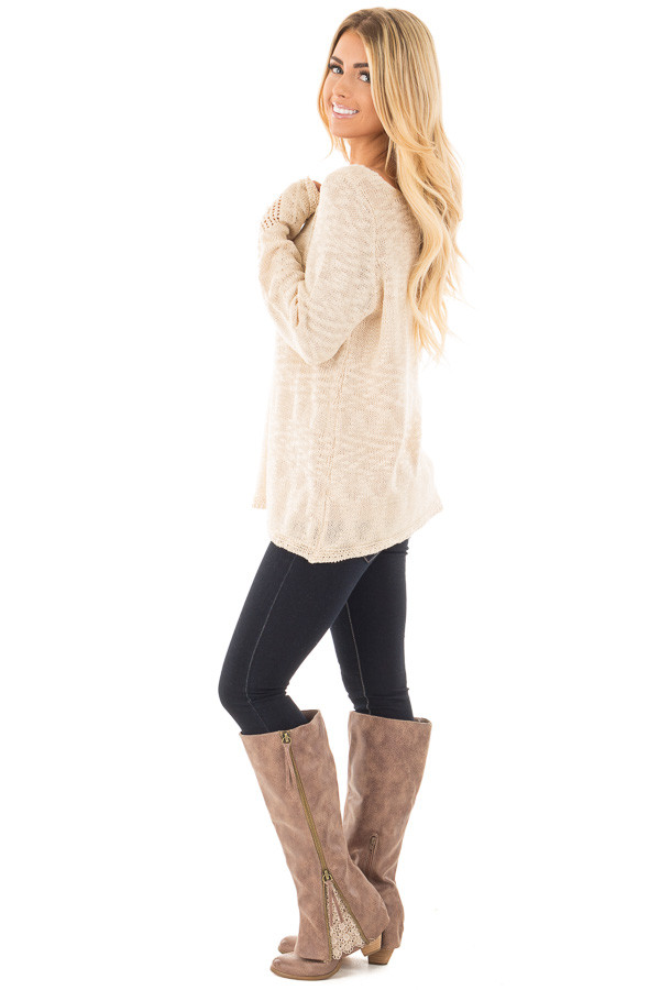 Beige Loose Knit Sweater with Knit Pattern Details side full body