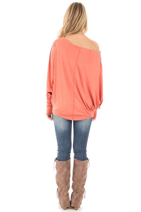 Coral Long Sleeved Dropped Shoulder Knit Top back full body