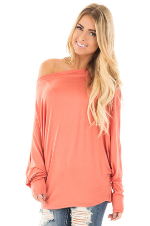 Coral Long Sleeved Dropped Shoulder Knit Top front close up