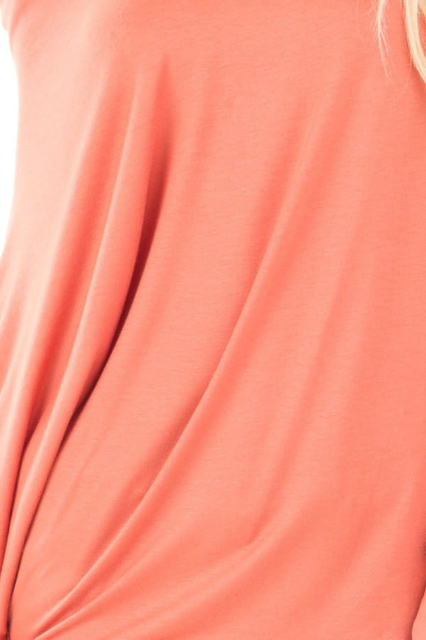 Coral Long Sleeved Dropped Shoulder Knit Top detail