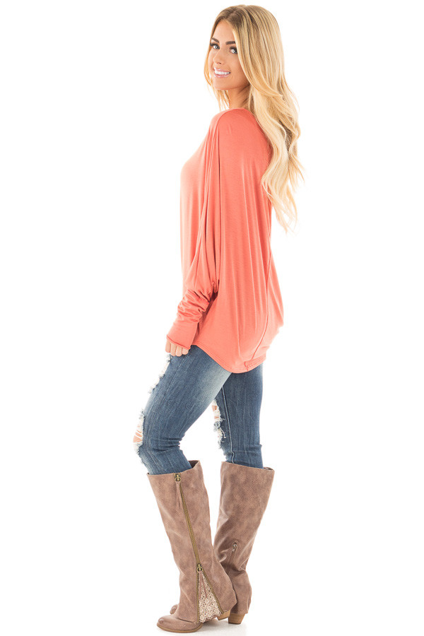 Coral Long Sleeved Dropped Shoulder Knit Top side full body