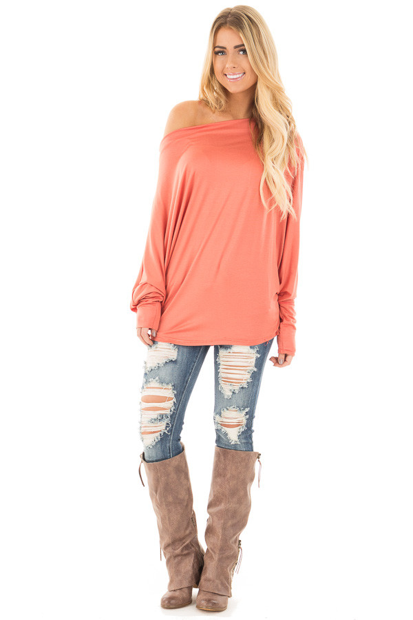 Coral Long Sleeved Dropped Shoulder Knit Top front full body