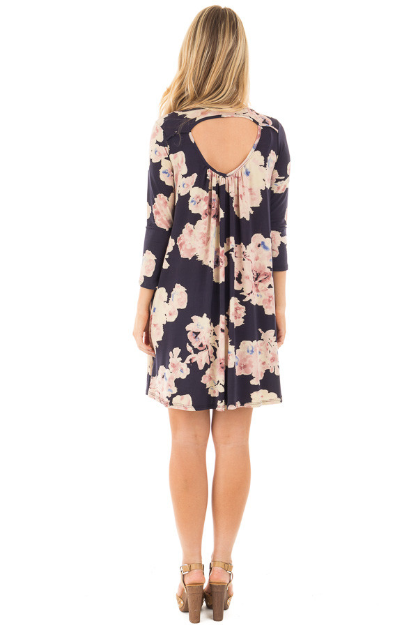 Navy Cutout Back with Floral Print Pocket Knit Dress back full body
