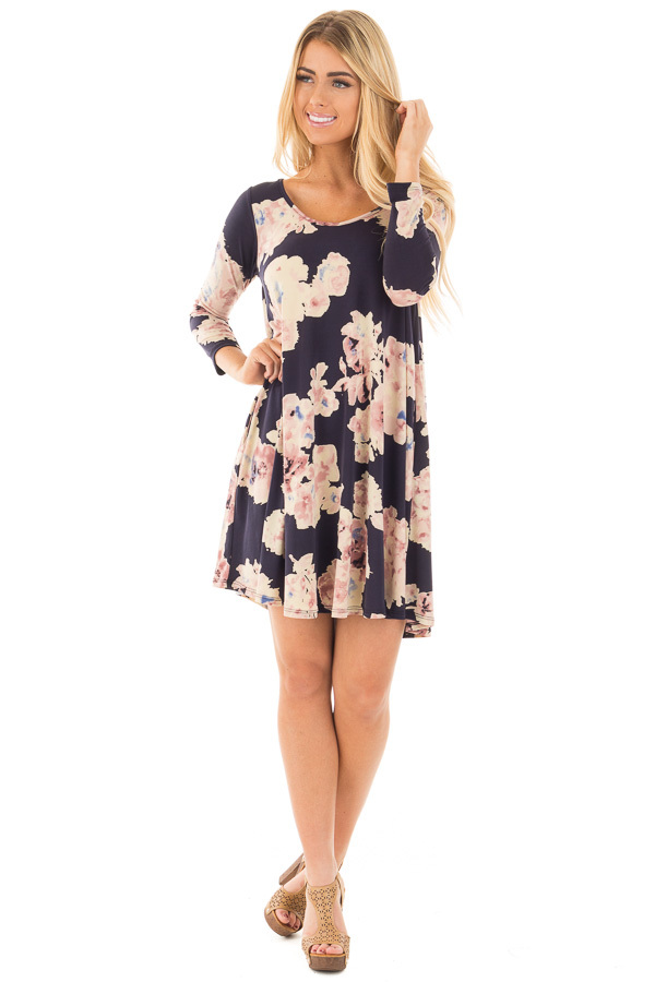 Navy Cutout Back with Floral Print Pocket Knit Dress front full body