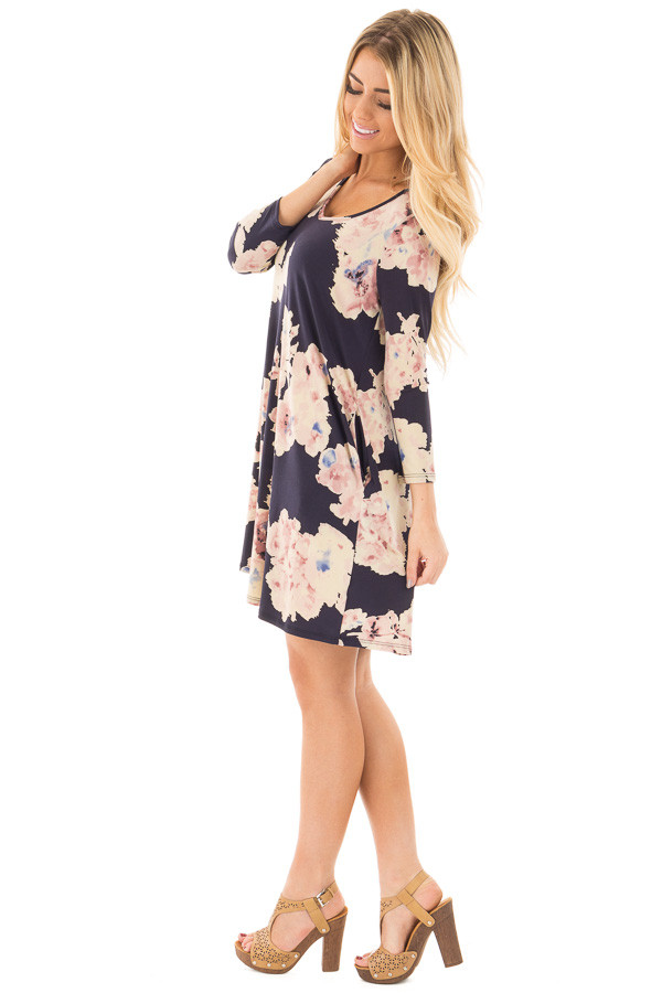 Navy Cutout Back with Floral Print Pocket Knit Dress side full body