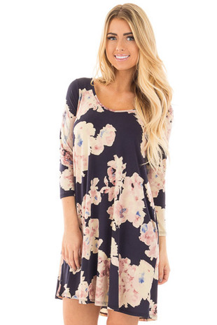Navy Cutout Back with Floral Print Pocket Knit Dress front close up
