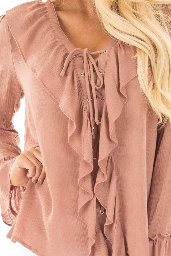Cinnamon Crinkle Ruffled Blouse Top with Lace Up Detail detail