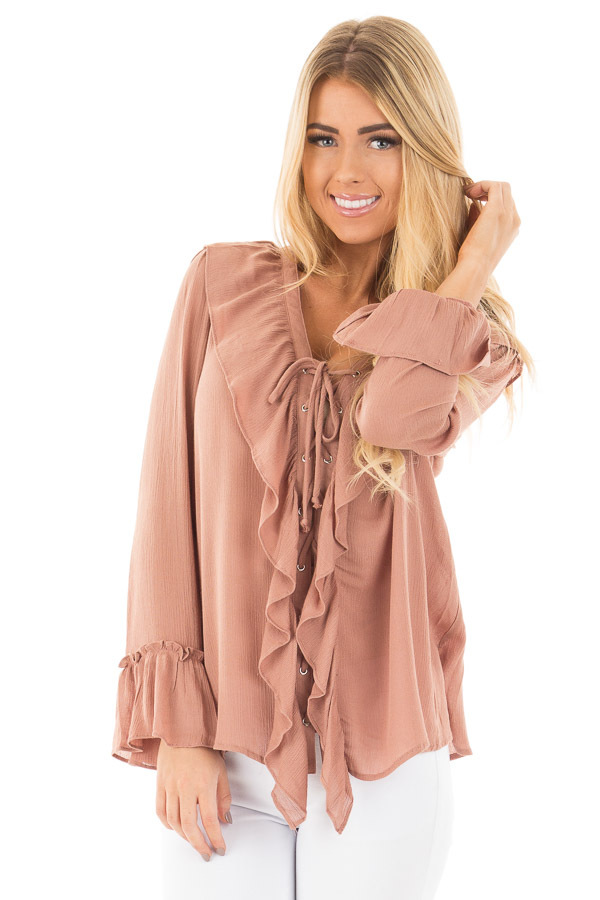 Cinnamon Crinkle Ruffled Blouse Top with Lace Up Detail front close up