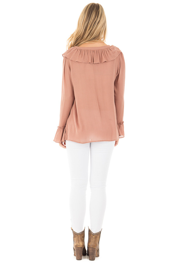 Cinnamon Crinkle Ruffled Blouse Top with Lace Up Detail back full body