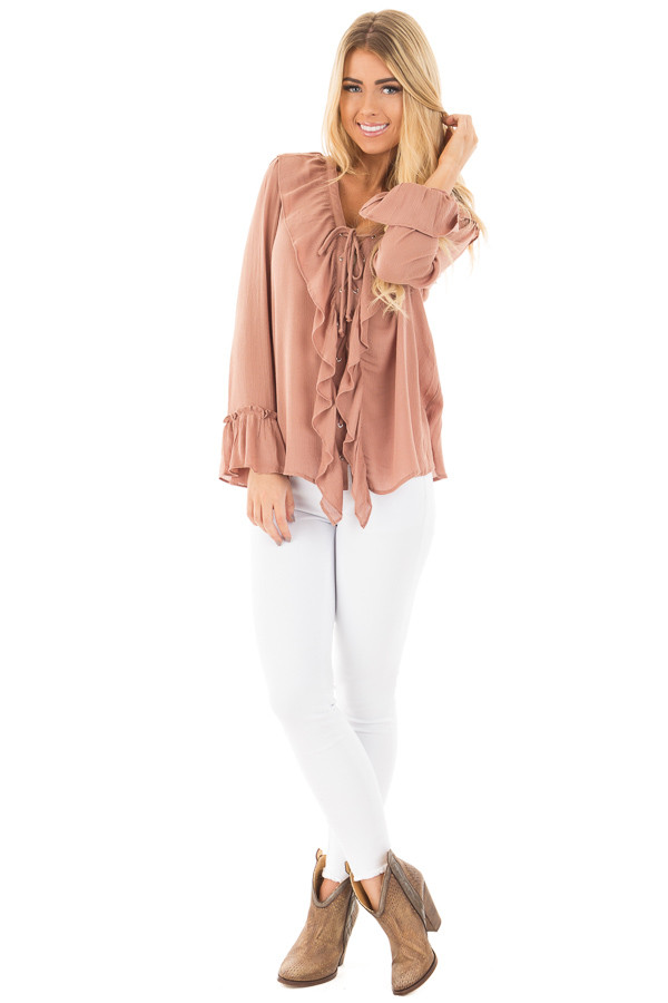 Cinnamon Crinkle Ruffled Blouse Top with Lace Up Detail front full body