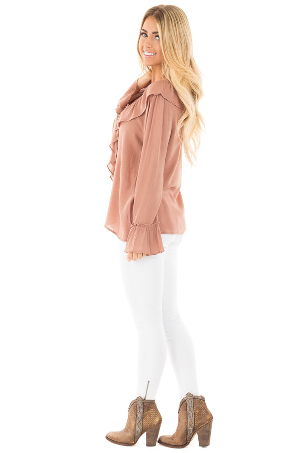Cinnamon Crinkle Ruffled Blouse Top with Lace Up Detail side full body