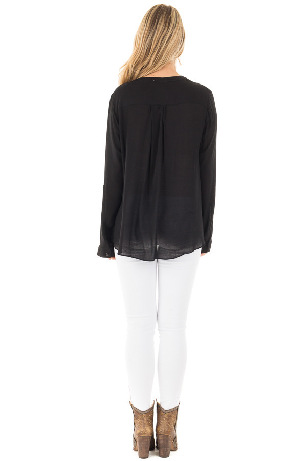 Black Long Sleeve Top with Keyhole Neckline Detail back full body