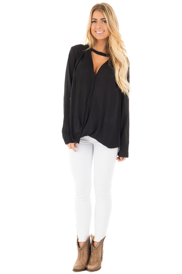 Black Long Sleeve Top with Keyhole Neckline Detail front full body