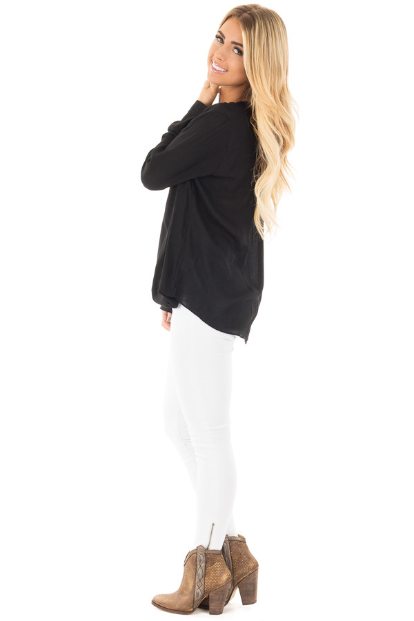 Black Long Sleeve Top with Keyhole Neckline Detail side full body