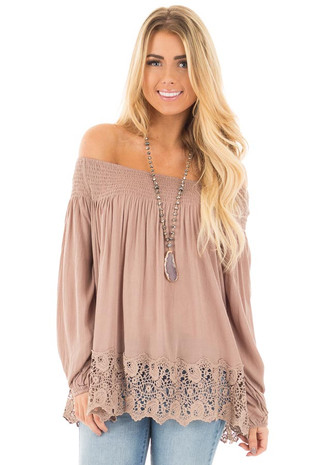 Mocha Off Shoulder Blouse with Lace Trim Details front close up