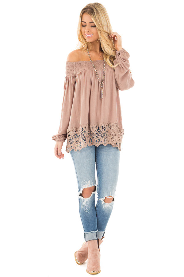 Mocha Off Shoulder Blouse with Lace Trim Details front full body