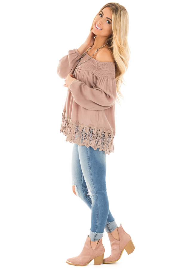 Mocha Off Shoulder Blouse with Lace Trim Details side full body