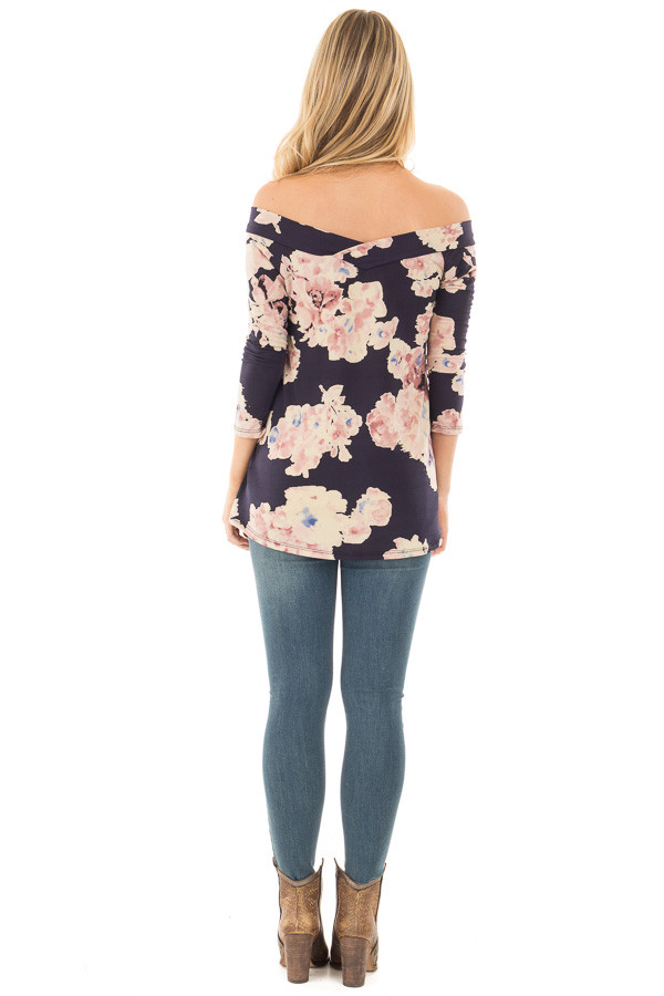 Navy Floral Print Off the Shoulder Knit Top back full body