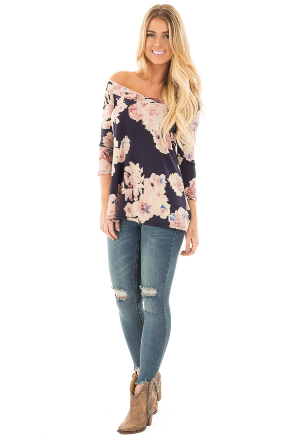 Navy Floral Print Off the Shoulder Knit Top front full body