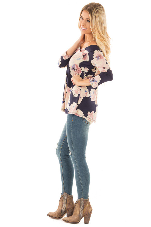 Navy Floral Print Off the Shoulder Knit Top side full body