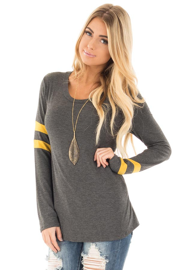 Charcoal Long Sleeve Tee with Mustard Stripe Detail front close up