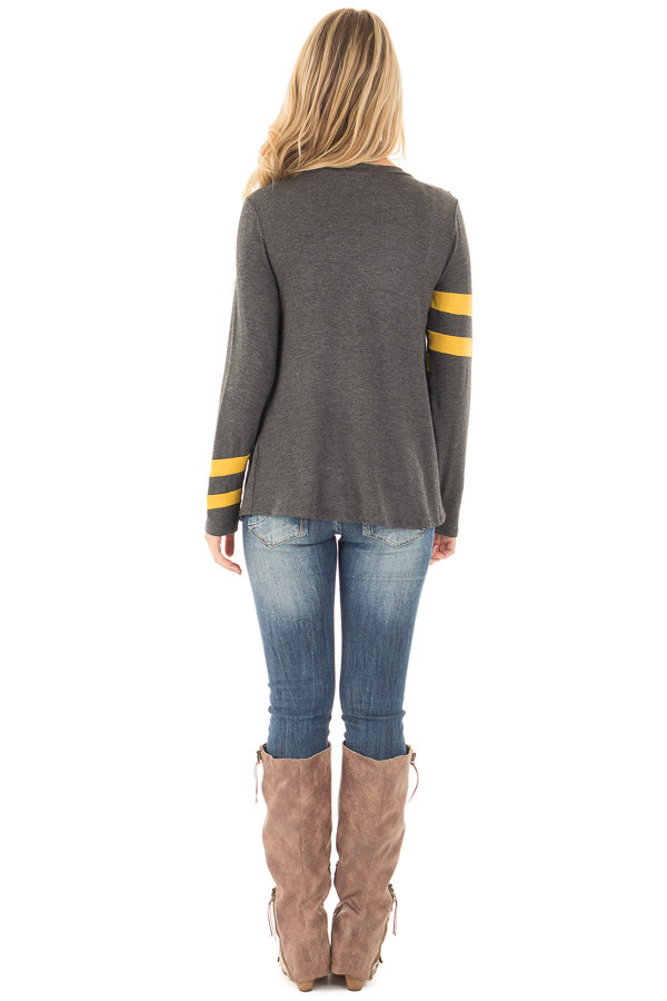 Charcoal Long Sleeve Tee with Mustard Stripe Detail back full body