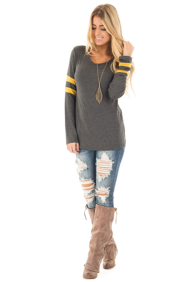 Charcoal Long Sleeve Tee with Mustard Stripe Detail front full body