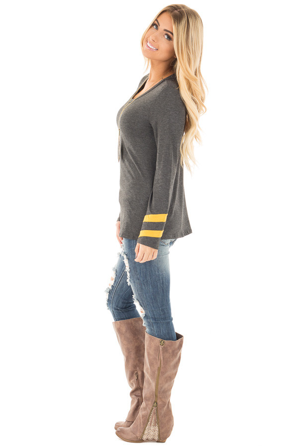Charcoal Long Sleeve Tee with Mustard Stripe Detail side full body