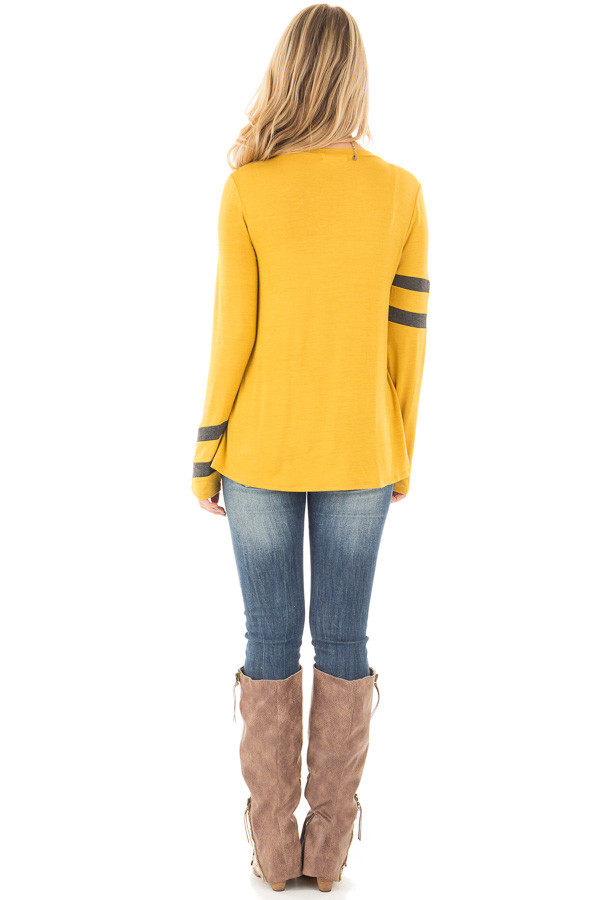 Mustard Long Sleeve Tee with Charcoal Stripe Detail back full body