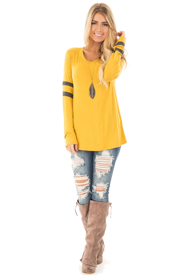 Mustard Long Sleeve Tee with Charcoal Stripe Detail front full body