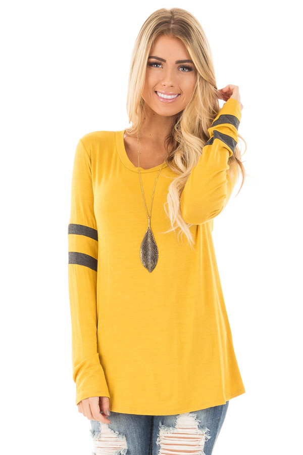 Mustard Long Sleeve Tee with Charcoal Stripe Detail front close up