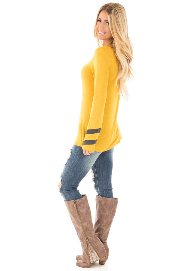 Mustard Long Sleeve Tee with Charcoal Stripe Detail side full body