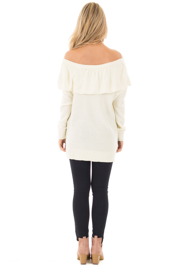 Ivory Off Shoulder Layered Top back full body