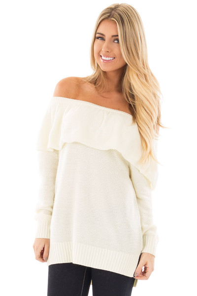 Ivory Off Shoulder Layered Top front close up