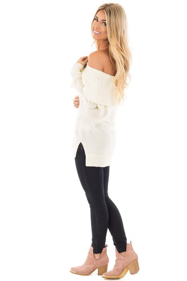 Ivory Off Shoulder Layered Top side full body