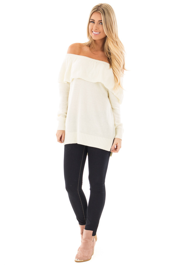Ivory Off Shoulder Layered Top front full body