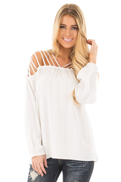 Off White Woven Top with Caged Neckline and Shoulders front close up