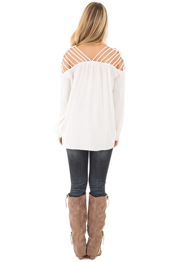 Off White Woven Top with Caged Neckline and Shoulders back full body