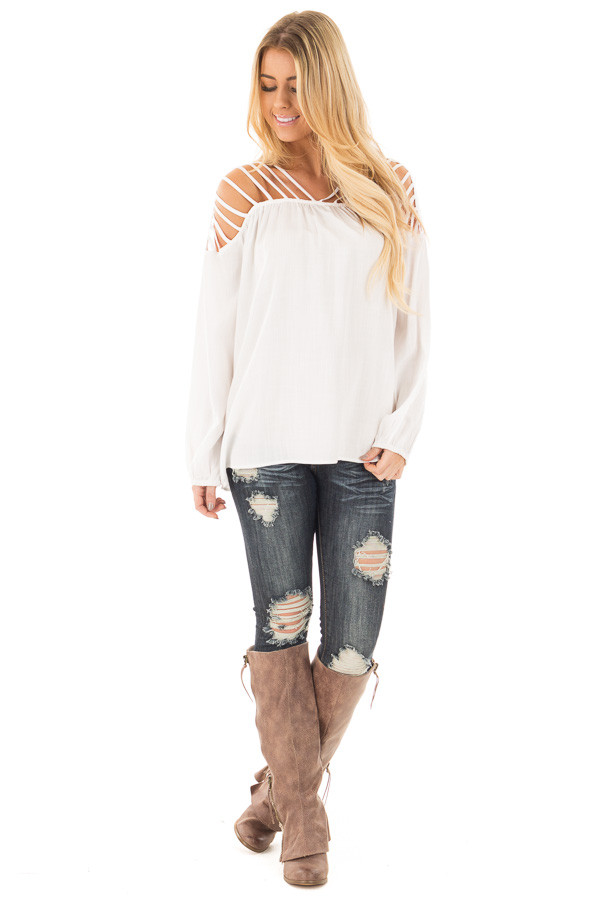 Off White Woven Top with Caged Neckline and Shoulders front full body