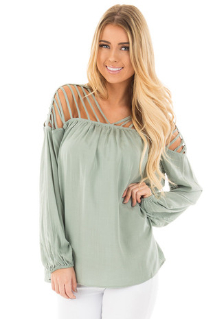 Sage Woven Top with Caged Neckline and Shoulders front close up